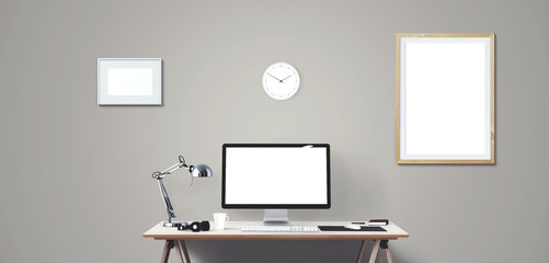 Computer display and office tools on desk. Desktop computer screen isolated.