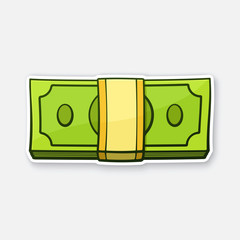 Vector illustration. The bundle of paper money. View directly from the front. Banknotes in the pile. United states dollars. Sticker in cartoon style with contour. Isolated on white background