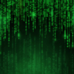 Falling blue numbers with bright flashes. Abstract technology Background in matrix style.