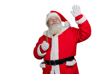 Santa Claus doing gesture on white background. Santa Claus waving with hand and looking upwards on white background. Santa with smoking pipe.