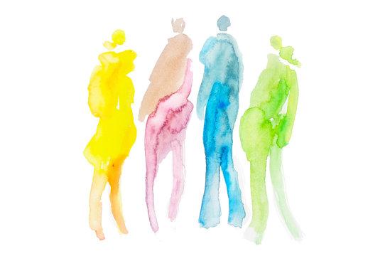 Quartett - kleine Gruppe von vier Leuten, Menschen, fashion, style, Wasserfarben, Aquarell, individuell, vintage, retro, Schlaghose, hippie, hipster, Gesellschaft und Gemeinschaft, Freundschaft