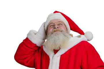 Senior Santa Claus on white background. Old santa Claus with real beard isolated on white background close up. Close up portrait of happy authentic Santa Claus.