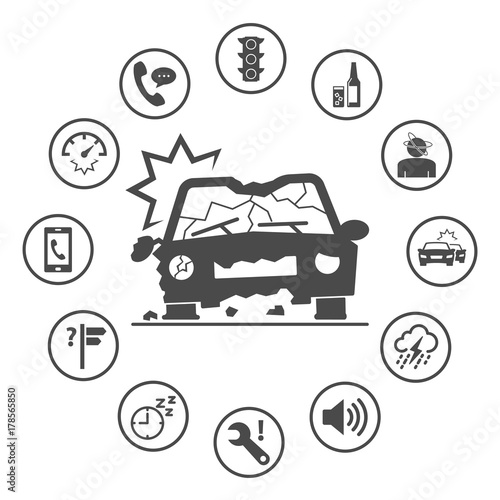 Causes Of Car Accidents Simple Rounded Insurance Icons Set Vector