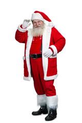 Full length of senior Santa Claus. Happy bearded man in Santa Claus costume standing on white background. Studio shot of Santa Claus.