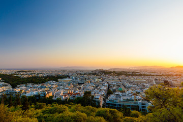 Acropolis with Parthenon at sunset, Athens, Greece, view from Lycabattus Hill