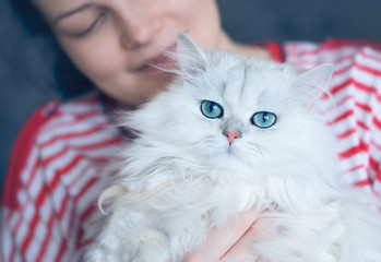 Young attractive woman with her lovely white long haired cat