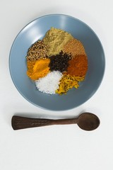 Various spices in plate with spoon