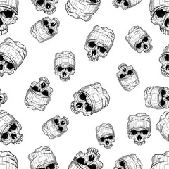 vector seamless pattern with skulls in cap