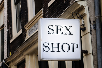 Sex shop sign in Amsterdam