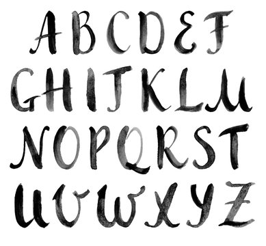 Watercolor hand drawn alphabet, capitals. Vector illustration. Brush painted letters