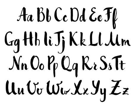 Vector hand drawn alphabet. Brush painted letters, rough contour.