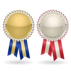 Award rosette gold and silver