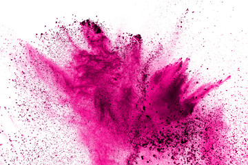 Abstract pink powder explosion on white background.