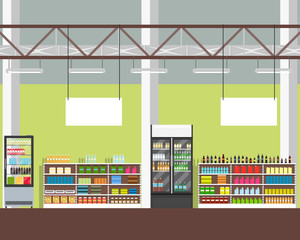 Interior of a supermarket. View of the shelves with the products. Vector illustration.