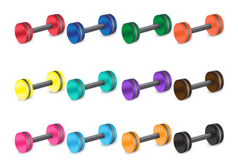 Mix Dumbbell fitness healthy and sport concept Background Vector