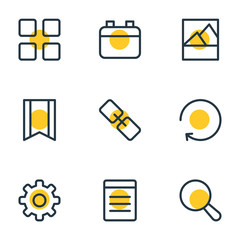 Vector Illustration Of 9 Application Icons. Editable Pack Of Picture, Date, Magnifier And Other Elements.