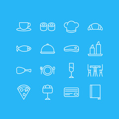 Vector Illustration Of 16 Eating Icons. Editable Pack Of Japanese Roll, Card, Food And Other Elements.