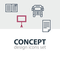 Vector Illustration Of 4 Education Icons. Editable Pack Of Car, Write Table, Textbook And Other Elements.