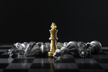 Chess (King wins the game) on black background. Success, business strategy, victory, win, winner, intellect, tactics, defeat, beat, knock, checkmate, leader or leadership concept. Fototapete