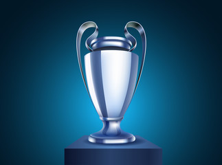 Shining silver cup Vector illustration