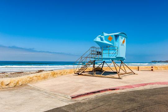 Lifeguard Hut by the Pacific Ocean in Solana Beach, San Diego County, California, USA