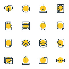 Vector Illustration Of 16 Memory Icons. Editable Pack Of Synchronize, Memory, Arrow Up And Other Elements.