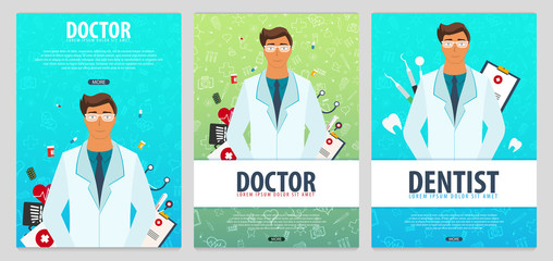 Set of Medical posters. Health care. Vector medicine illustration.
