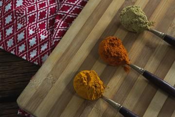 Turmeric powder, red chili powder, coriander powder on chopping