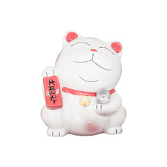 Lucky cat isolated on white background
