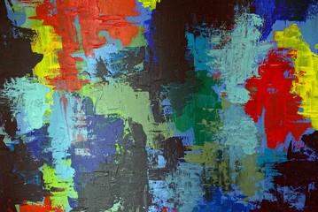 цветной узор масляными красками на холсте