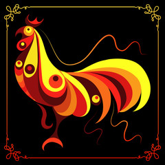 Graphic illustration with a fiery cock 4