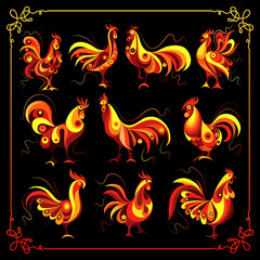 Graphic illustration with a fiery cock (set) 1