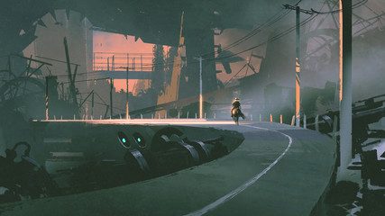 sci-fi concept of man riding a horse in futuristic city, digital art style, illustration painting
