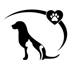 emblem of a cat with a dog on a white background