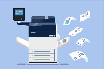 Office professional multi-function printer scanner. Isolated flat vector illustration Wall mural