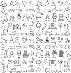 Set of contour icons and pattern on children's theme