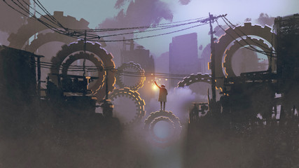 night scenery of man with a lantern standing on giant gears in dark city, digital art style, illustration painting