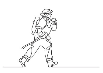 continuous line drawing of - running firefighter