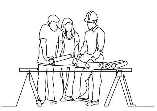 continuous line drawing of - couple discussing costruction plan with developer