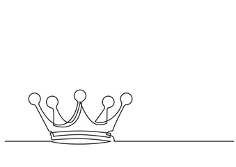 one line drawing of isolated vector object - crown