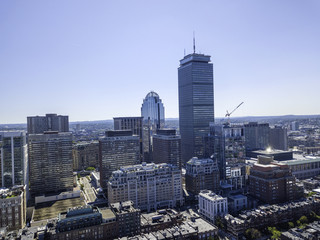 Boston, Massachusetts, USA city skyline aerial panorama view with urban buildings midtown