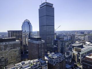 Boston, Massachusetts, USA city skyline aerial panorama view with urban buildings midtown