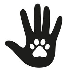 Hand of a man with a dog's paw