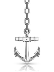 anchor with chain isolated on white background