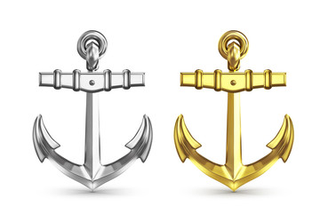 silver and gold anchors isolated on white background