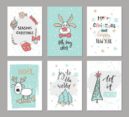 Christmas hand drawn cute cards with reindeer, trees, candy , mitten, bird and other items. Vector illustration