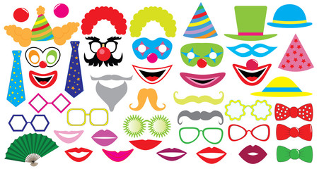Birthday party set. Clown, hat, cap, glasses, lips,  mustaches, tie and etc., icons.