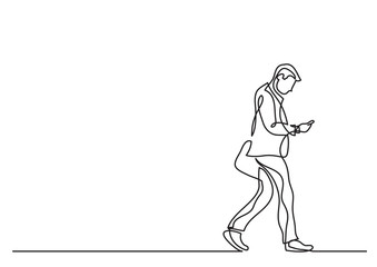 one line drawing of man walking with a phone