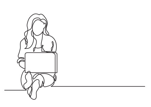 one line drawing of a woman sitting with laptop computer