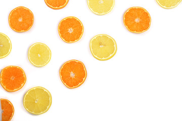 Slices of orange or tangerine and lemon isolated on white background with copy space for your text. Flat lay, top view